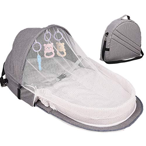 Purchase Hankyky Baby Easy to-Go Bassinet for Baby Foldable Baby Backpack Bed with Mosquito Canopy f...