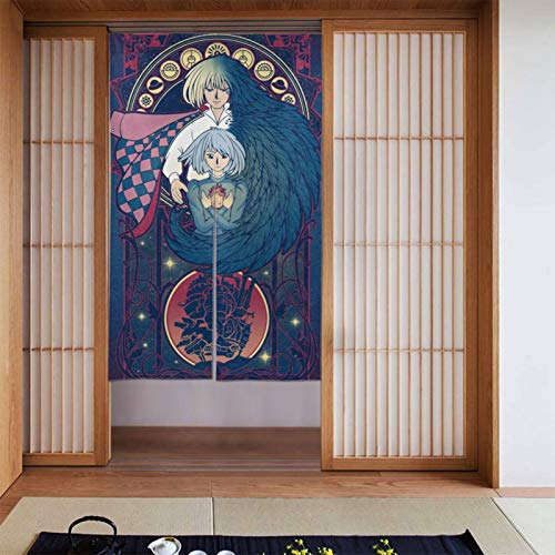 Anime Howl's Moving Castle Curtain Noren Tapestry Japanese Noren Doorway Curtain Door Way Curtain Fitting Room Curtain Partition Curtain Door Hanging Tapestry 34 X 56
