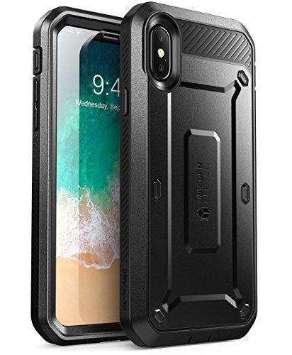 SUPCASE Hülle für iPhone X Handyhülle iPhone XS Case Bumper Schutzhülle 360 Grad Cover Euti [Unicorn Beetle PRO] mit integriertem Displayschutz und Gürtelclip, Schwarz