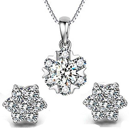 findout plata de ley Ladies Diamante copo de nieve colgante collar + pendientes. Para las mujeres niñas. (F1468)