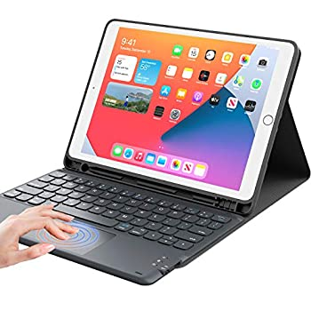 """iPad 8th Generation Case with Keyboard CHESONA Smart Trackpad Detachable Wireless with Pencil Holder Stand Folio Keyboard Cover for iPad 8th Gen/7th Gen 10.2 iPad Air 3rd Gen/Pro 10.5"""" Black"""