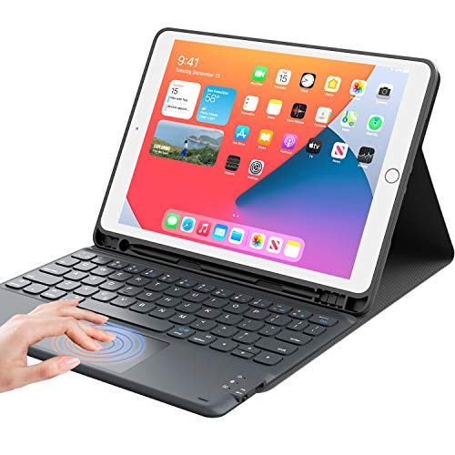 "iPad 8th Generation Case with Keyboard, Smart Trackpad, Detachable Wireless with Pencil Holder Stand Folio Keyboard Cover for iPad 8th Gen/7th Gen 10.2, iPad Air 3rd Gen/Pro 10.5"", Black"