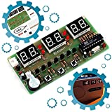 Icstation 6-bit Digital Clock DIY Soldering Kit, STEM Project Clock Kit Great School Science Practice Project Tool