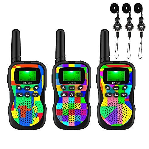 U`King 3x Walkie Talkie Set für Kinder 8 Kanäle Funkhandy Interphone mit LC-Display mit Taschenlampe und Schlüsselbänder