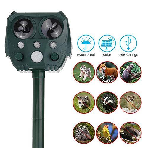 WETERS Ultraschall Tierschädlingsbekämpfer, Außentiervertreiber, Bewegungs-Sensor Blitzlicht Hund Katze Waschbär Kaninchen Tier Dispeller