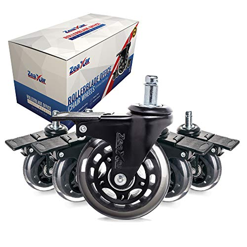"""ZEAXAR Caster Wheels with Brakes - 5 Pieces 3"""" Locking Office Chair Wheels - Quiet Rollerblade Style PU Rubber Heavy Duty Wheels - Work on Hardwood & Tile Floors & LOW PILE CARPET- NOT FOR IKEA CHAIRS"""