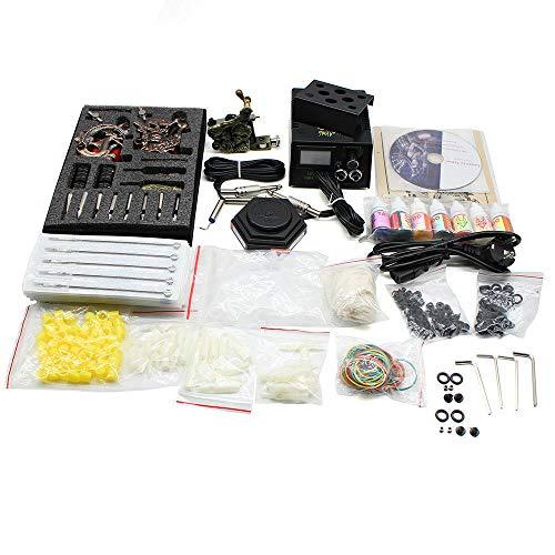 Kit completo de tatuaje, 1 máquina de tatuaje, 20 agujas de colores, máquina de tatuaje, set profesional de herramientas de tatuaje