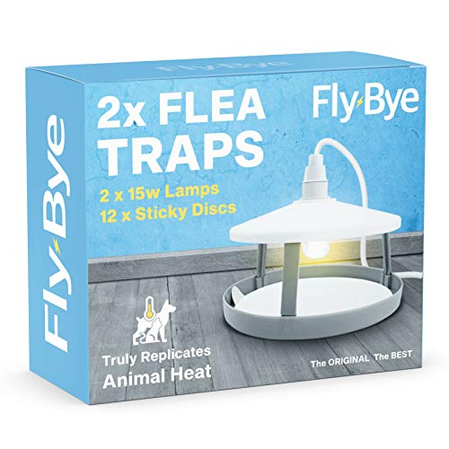2X ULTIMATE FLEA TRAPS By Fly-Bye® + 12 Sticky Discs - Uniquely Powerful 15 Watt Trap - Truly Replicates Animal Body Heat
