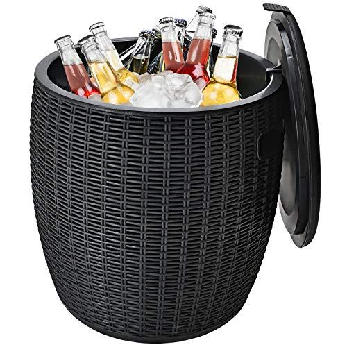 COSTWAY 3 in 1 Beistelltisch 45L Kühlbox Hocker Getränkekühler Gartentisch 150kg belastbar, Cool Bar mit Haken, Griff, abnehmbar Deckel, Abflussloch (Schwarz)