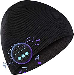 Deego HD Stereo Sports Bluetooth Dark Grey Beanie Headset with Hands-free Speaker Microphone with Touch Screen Black Gloves