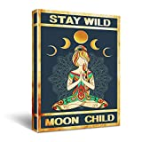 Funny Yoga Quotes Canvas Wall Art - Vintage Yoga Meditation Stay Wild Moon Child Poster Canvas Wall Art for Office/Home/Living Room Decor - Yoga Meditation Gift - Ready to Hang Home 11.5x15 Inch