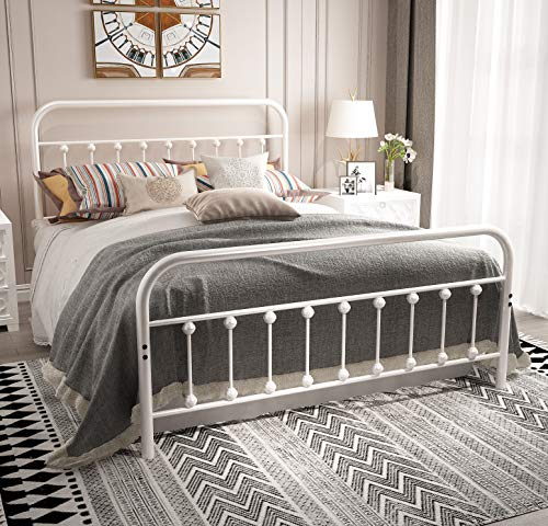 URODECOR Metal Bed Frame Twin Size Headboard and Footboard The Country Style Iron-Art Double Bed The Metal Structure, Antique Bronze Brown Baking Paint.Sturdy Metal Frame Premium Steel Slat Suppot