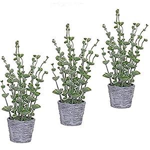 Silk Flower Arrangements 15 in. Bellflower Grass Everyday Green Grass in Planter - Artificial Herb Plants Greenery Tabletop Décor - Faux Shrubs 3 Pack