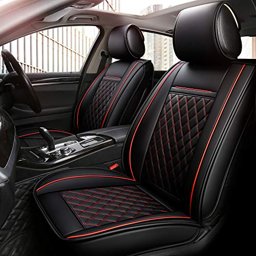 INCH EMPIRE 2 Front Car Seat Cover-Waterproof PU Leather Cushion Anti-Slip Suede Backing-Universal Fit for Both Fabric and Leather Seats Easy to Clean (2 Pcs of Black with Red Line)