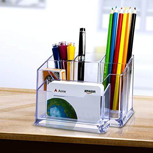 Premium Quality Clear Plastic Craft and Desktop Organizer, Modern Desktop Office Supplies & Business Card Holder