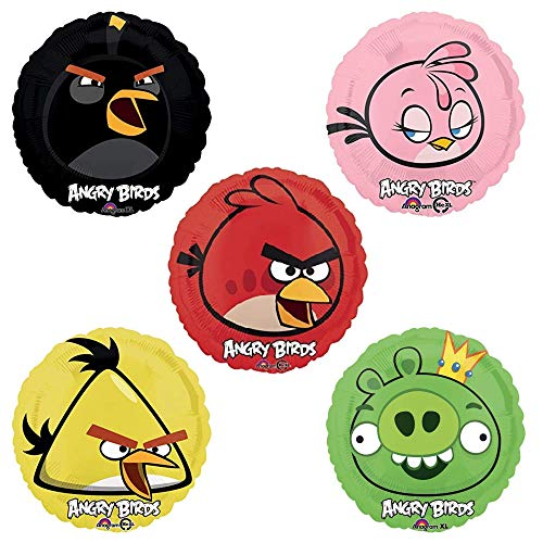 Angry Birds Movie Party Supplies - 5 Pack Birthday Bundle of Angry Bird Balloon Decorations with Green Pig Plus Red, Black, Yellow, and Pink Angrybirds Balloons