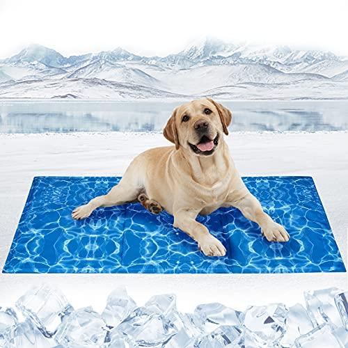 Tappetino Refrigerante per Cani Gatti Auto-Raffreddamento Pad per Cani e Gatti Gel Non Tossico Giaciglio Rinfrescante per Cani, Gatti,Animali,Onda d'acqua-L(90*50CM)
