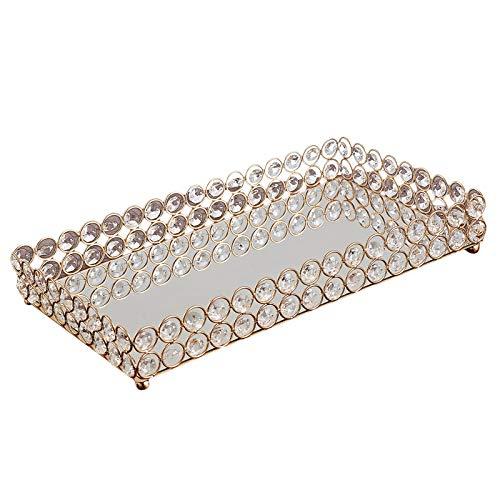 Generic Dekorative Make-Up Eitelkeit Schalen Kristall Gespiegelt Kosmetik Schmuck Schmuckstück Verzierten Parfüm Platte für Kommode-3 Sise - 35x20x5cm
