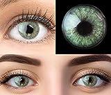 GLAMLENS Lenti a contatto colorate verdi Keira Green - mensili - con porta lenti a contatto - verde naturali in silicone idrogel - 2 pezzi - DIA 14.2 - senza correzione 0.00 diottrie lente a contatto