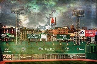 Boston Red Sox Poster, Fenway Park Green Monster, Red Sox Art