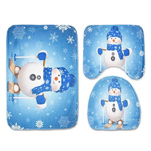 TaoNaisi 3 Parti/Insieme di Natale Sedili e Natale Tappeti Decorazioni di Natale di vetrine Sedili e Serbatoi Decorazioni di Natale da Bagno (Pupazzo di Neve)