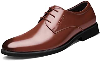 Oxford British Men's Oxford Shoes Comfortable Lace-up Round Head Business Derby Shoes Breathable Faux Leather Dress Shoes Derby Saddle Shoes (Color : Brown, Size : 44)