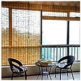 TMPP Estores Bambu Enrollables Exterior Persianas de Paja,Estores de Bambú,Estores Enrollables Romanas, Robusto Madera Calidad con Accesorios de Instalación en Interiores y Exteriores, Personalizable