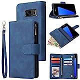 CHICASE Wallet Case for Galaxy S7 Edge,Samsung S7 Edge Case,Leather Handbag Zipper Pocket Card Holder Slots Wrist Strap Flip Protective Phone Cover for Samsung Galaxy S7 Edge(Blue)