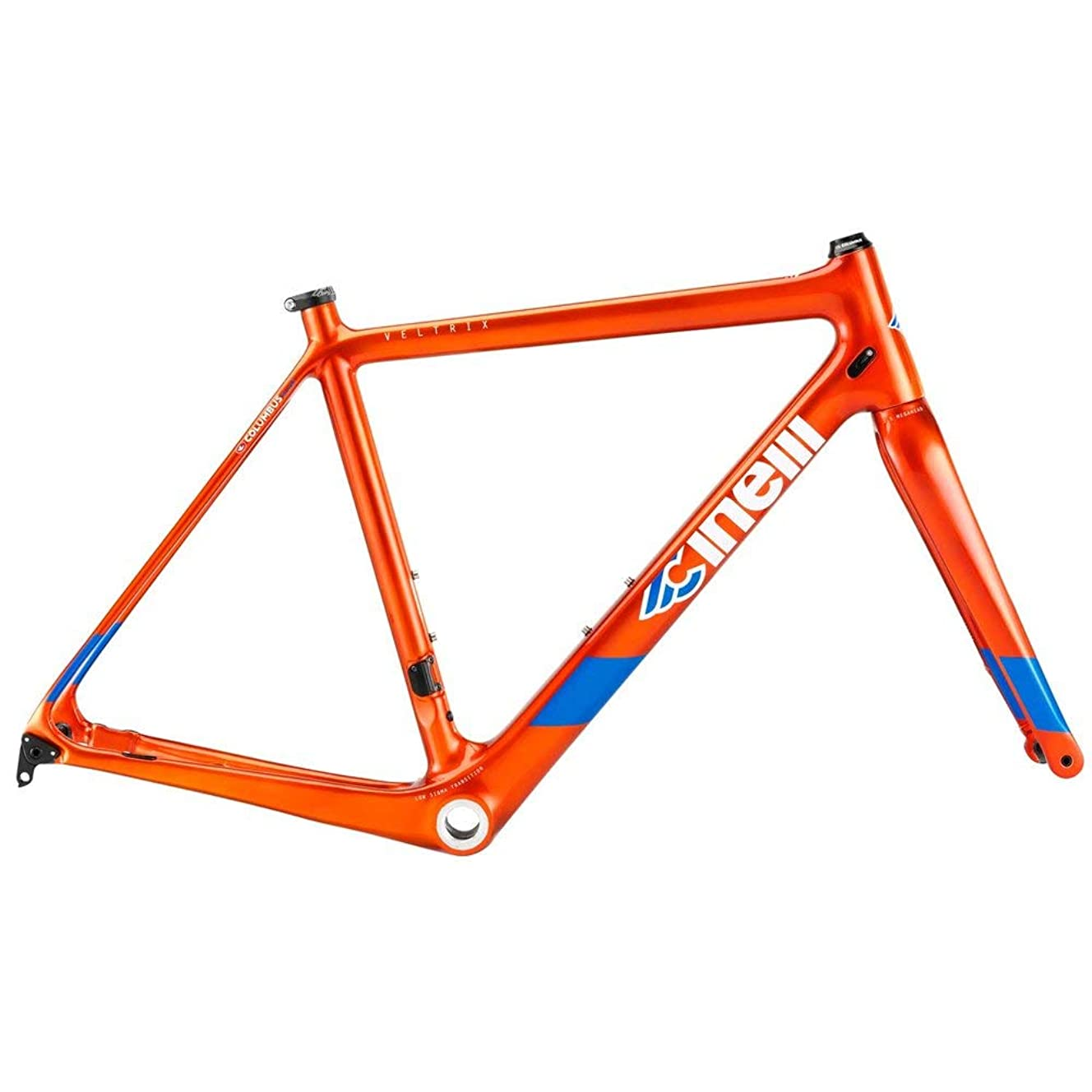 Cinelli Veltrix Disc Frameset Carbon Fiber Blue Burns Orange