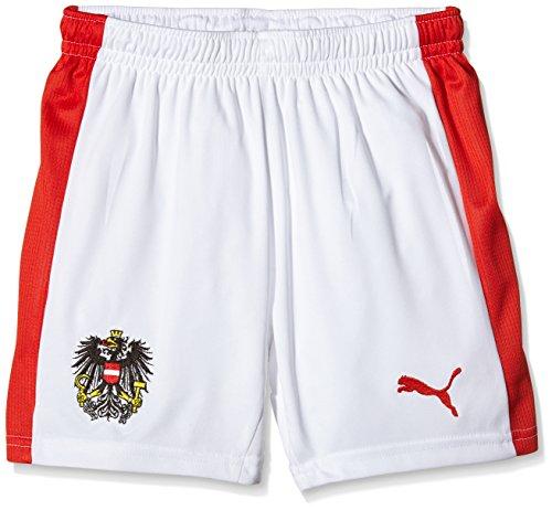 PUMA Kinder Hose Austria Home Shorts Replica W/O Innerslip, White/Red, 128