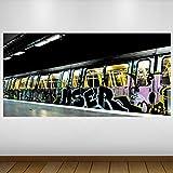 LagunaProject Extra Grande Vinilo Tren del Metro de Nueva York Graffiti Póster - Mural Decoración - Etiqueta de la Pared -140cm x 70cm