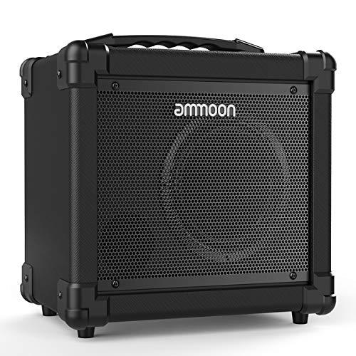 ammoon Gitarrenverstärker, 10 W, tragbar, für E-Gitarre, Verstärker, BT Lautsprecher, unterstützt Sauberkeit/Verzerrungs-Modi, AUX IN Gain Bass Treble Lautstärkeregler