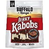 Buffalo Range Rawhide Dog Treats | Healthy, Grass-Fed Buffalo Jerky Raw Hide Chews | Hickory Smoked Flavor | Jerky Kabob, 18 Count