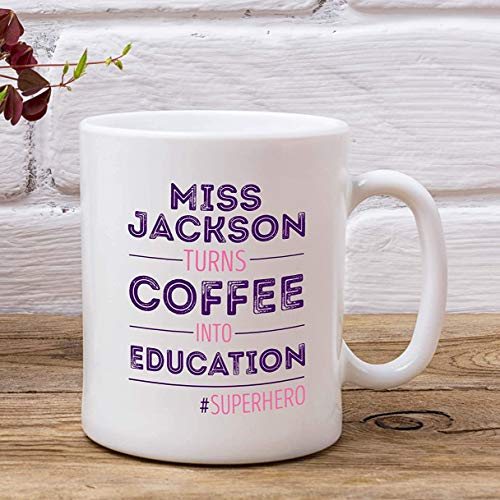 325 ml kubek na kawę, filiżanka do herbaty, spersonalizowany kubek dla nauczycieli superbohaterów - kawa w edukacji - bezpłatna dostawa w Wielkiej Brytanii - koniec terminu - prezent dla nauczyciela
