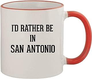 I'd Rather Be In SAN ANTONIO - 11oz Ceramic Colored Rim & Handle Coffee Mug, Red
