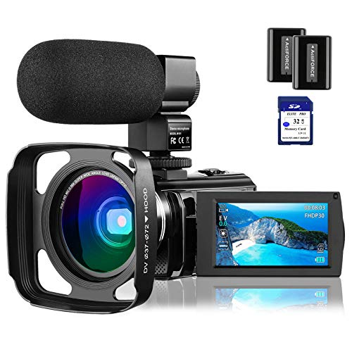 """4K Video Camera Camcorder Vlogging Camera for YouTube Rosdeca Ultra HD 48.0MP WiFi Digital Camera IR Night Vision 3.0"""" IPS Touch Screen 16X Digital Zoom with Microphone, Wide Angle Lens Memory Card"""