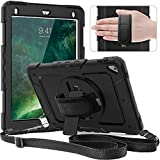 Timecity Case for iPad 6th/5th Generation,9.7 Inch 2018/2017 Case with Rotating Stand/Strap Full-Body Silicone+PC Protective Case Replacement for iPad 5th/6th Gen/Air 2/ Pro 9.7 Black