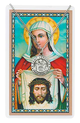 Saint St Veronica 3/4-inch Pewter Medal Pendant Necklace with Holy Prayer Card