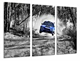 Quadro Su Legno, Car Racing Subaru Blue Forest Landscape,...