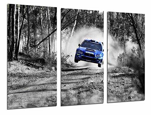 Cuadro Fotográfico Coche Carreras Subaru Azul Paisaje Bosque, Blanco Negro Tamaño total: 97 x 62 cm XXL