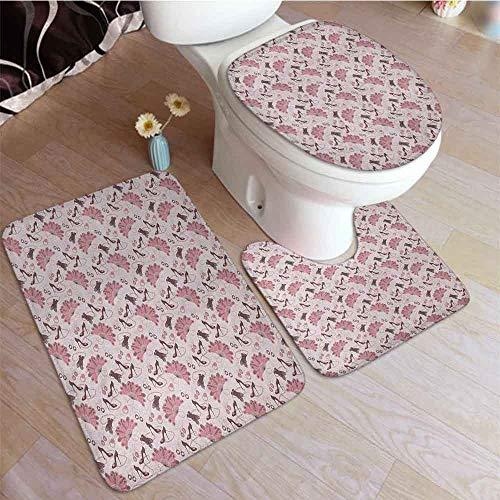 Juego de 2 alfombras de baño vintage con diseño floral inspirado en la temporada de primavera y…