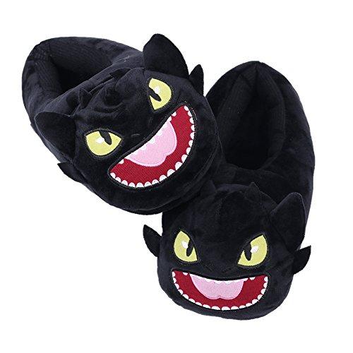 Niedlich Cartoon Dragon Hausschuhe - weiche Flauschige Plüsch warme Bequeme Lounge Schuhe für Frauen Adult Teens Jungen und Mädchen
