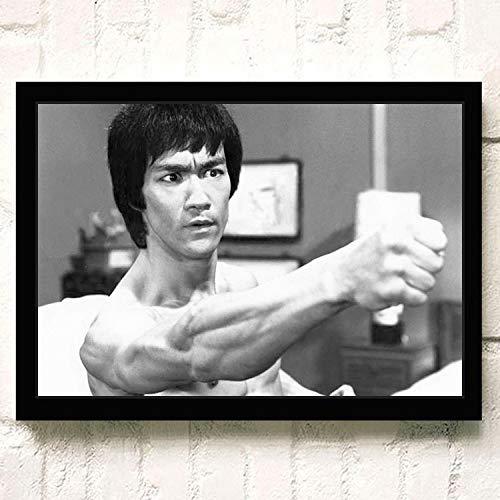 JYWDZSH Leinwanddruck Retro Bruce Lee Klassische Alte Filmplakat Bar Café Dekoration Art Decor Kinderzimmer Malerei Leinwand Malerei, 50X70Cm No Frame