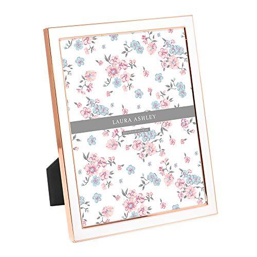 Laura Ashley Bilderrahmen, Emaille, Metallkante, mit Staffelei, hergestellt für Tischplatte, Schreibtisch, Wanddekoration, Galerie-Kunst und mehr 8x10 Weiß mit Roségold