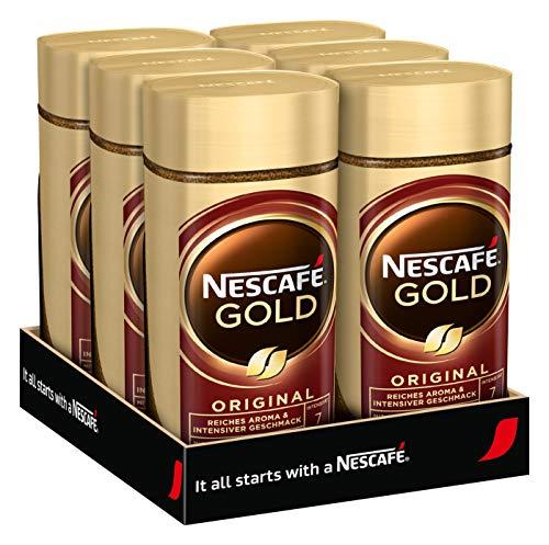 NESCAFÉ GOLD Original, löslicher Bohnenkaffee aus erlesenen Kaffeebohnen, koffeinhaltig, vollmundig & aromatisch, 6er Pack (6 x 200g)