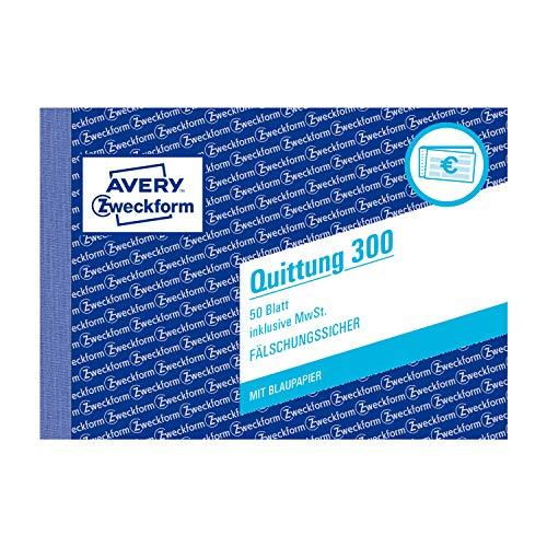 AVERY Zweckform 300 Quittungsblock (A6 quer, 50 Blatt, fälschungssicher, inkl. MwSt., mit 1 Blatt Blaupapier, für Deutschland und Österreich) weiß