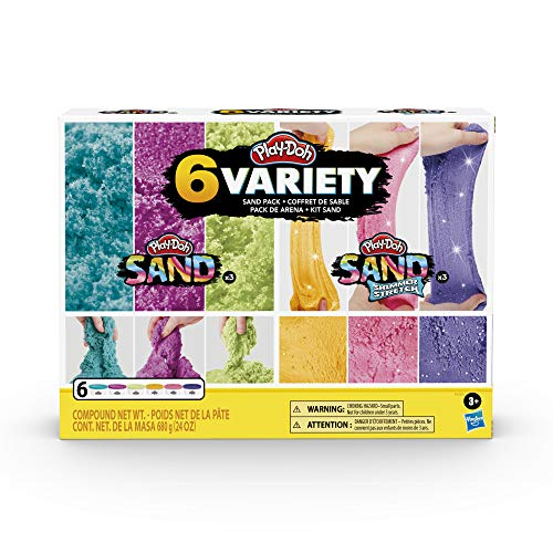 Play-Doh Sand Variety 6-Pack of Play-Doh Sand and Shimmer Stretch Compounds for Kids 3 Years and Up, 4-Ounce Cans, Assorted Colors, Non-Toxic