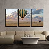 "wall26 3 Piece Canvas Wall Art - Hot Air Balloon Safari Flight at The Time of Great Migration - Modern Home Decor Stretched and Framed Ready to Hang - 24""x36""x3 Panels"