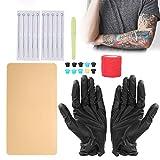 Kit de herramientas de tatuaje, kit de bolígrafo de tatuaje profesional con copa de pigmento de vendaje para la piel de práctica, entrenamiento manual Kit de juego de herramientas de tatuaje para arte