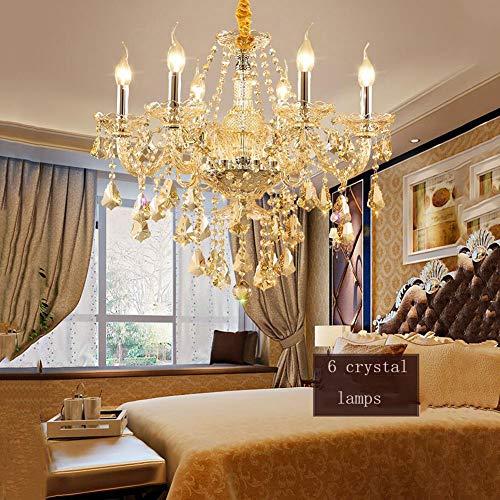 QYS Europäischer Kristall-Kronleuchter Kristallglälerei Kristallglälier Wohnzimmer Esszimmer-Schlafzimmer-Lampe Neue Champagner-Gold-Kristallleuchter,Six